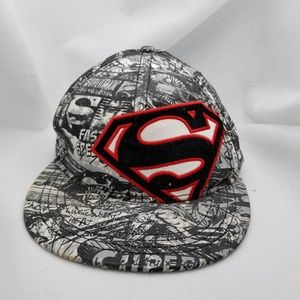 Superman Ball Cap Red Black Gray White Sz S/M